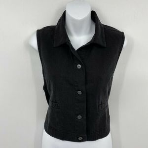 Eileen Fisher Cropped Vest S Button Front Cotton